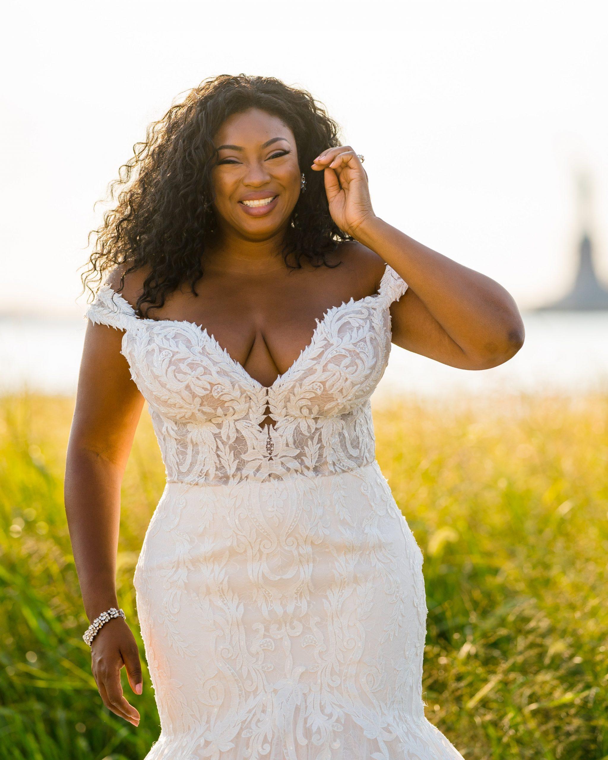 Black Plus Size Model Wearing Mermaid Wedding Dress Called Joss by Sottero and Midgley