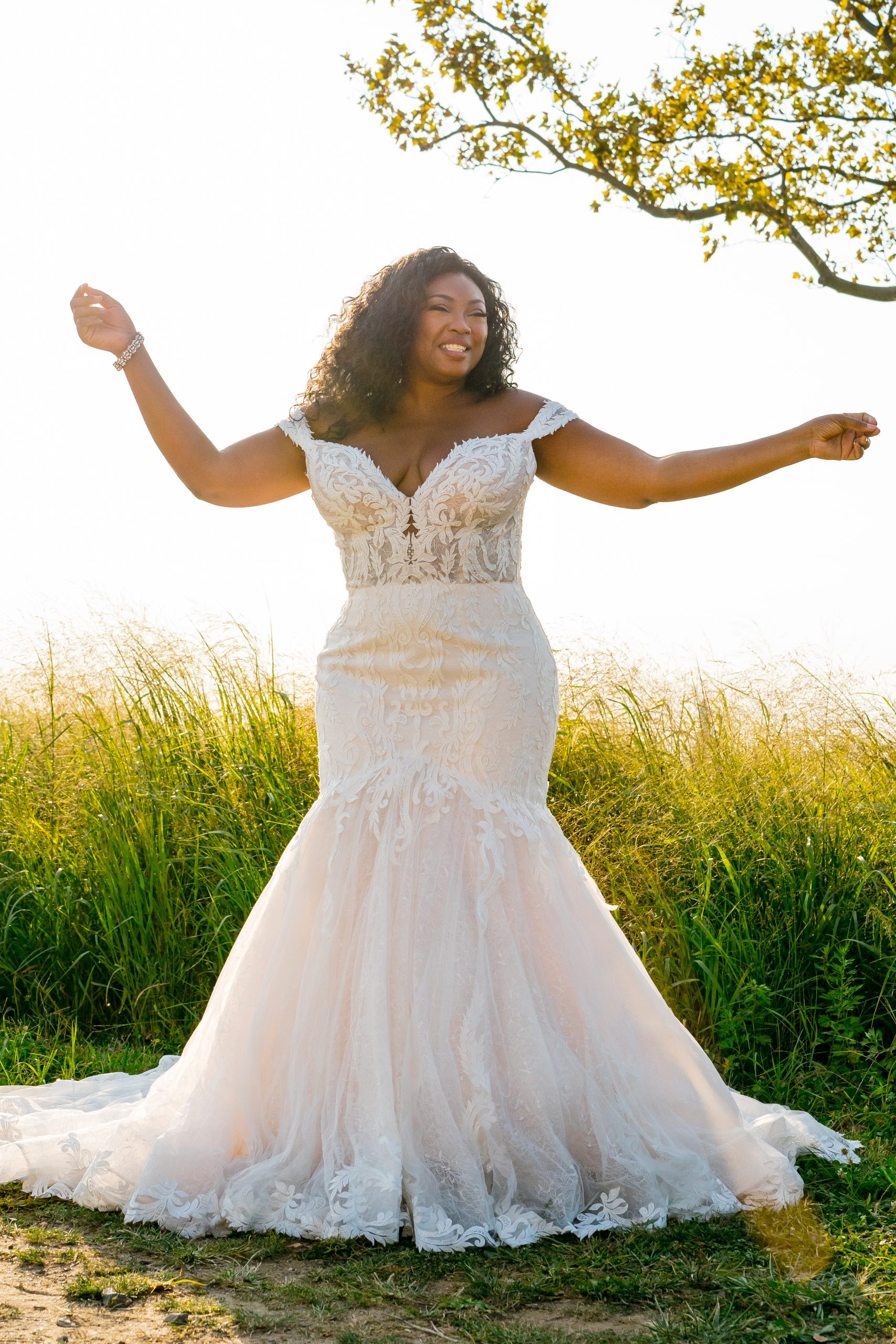 Black Plus Size Model Wearing Mermaid Wedding Dress Called Joss by Sottero and Midgley