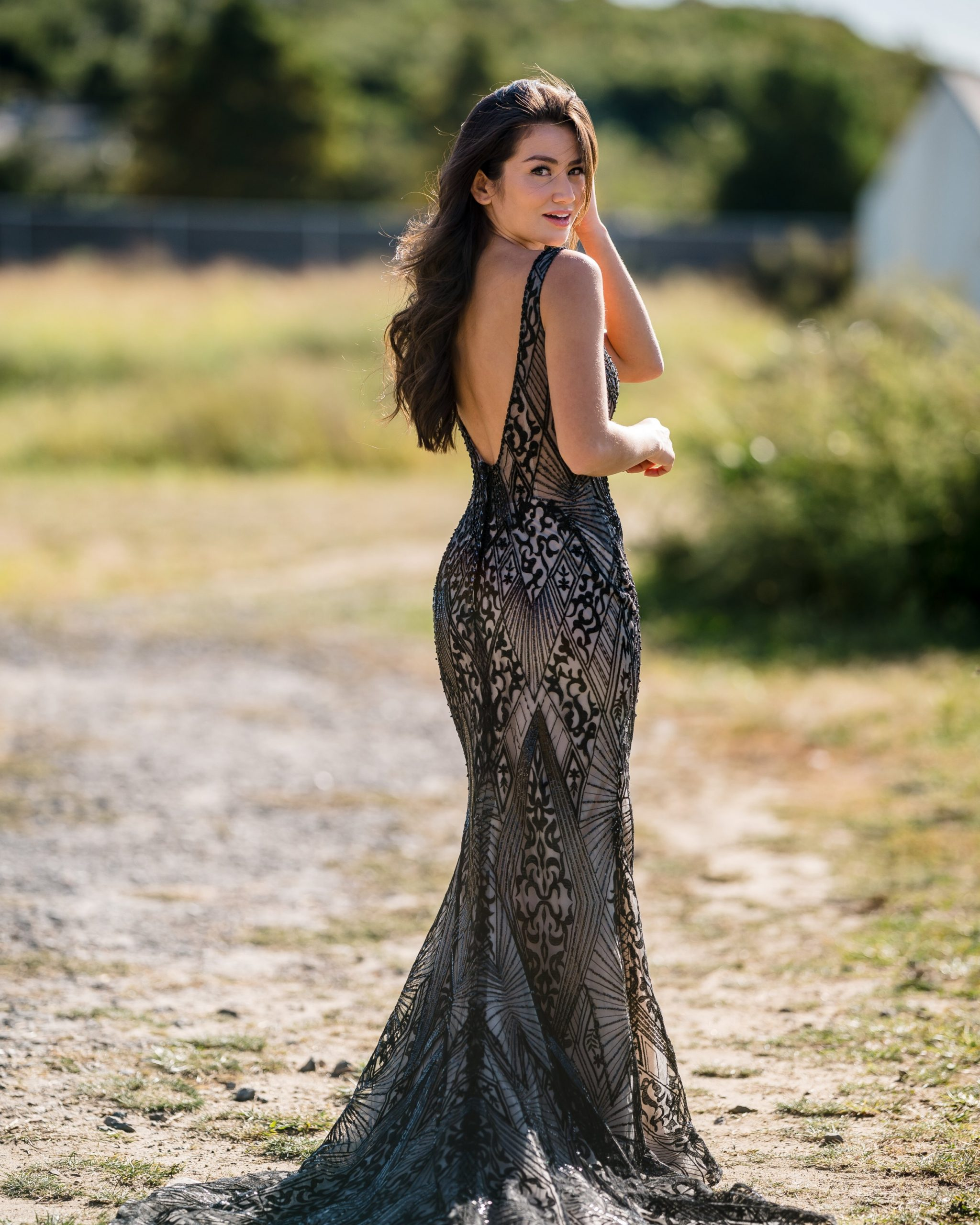 Influencer Caila Quinn Wearing Black Sheath Wedding Dress Called Elaine by Maggie Sottero