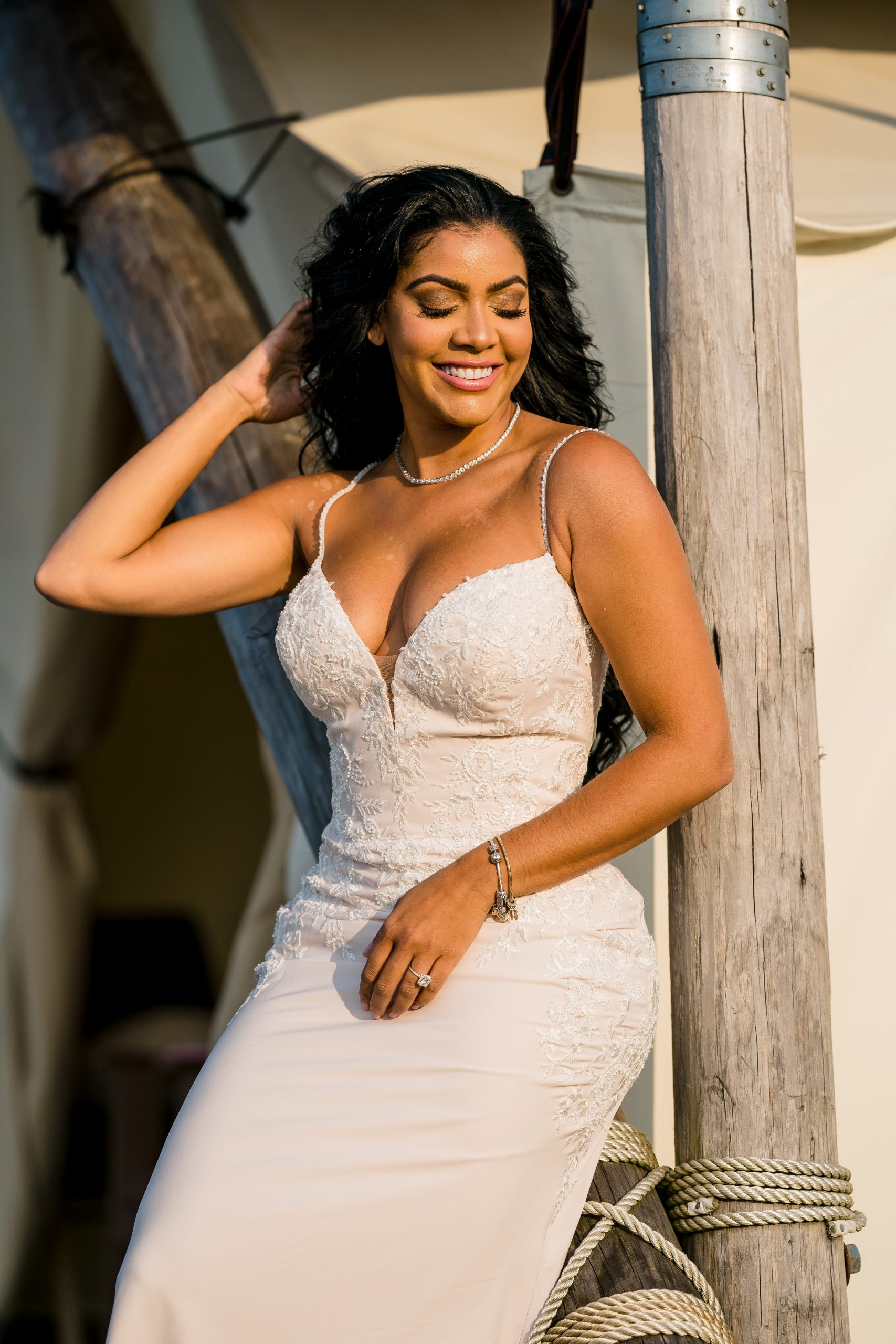 Influencer at Influencer Event Wearing Simple Crepe Wedding Dress Called Aubrey by Rebecca Ingram