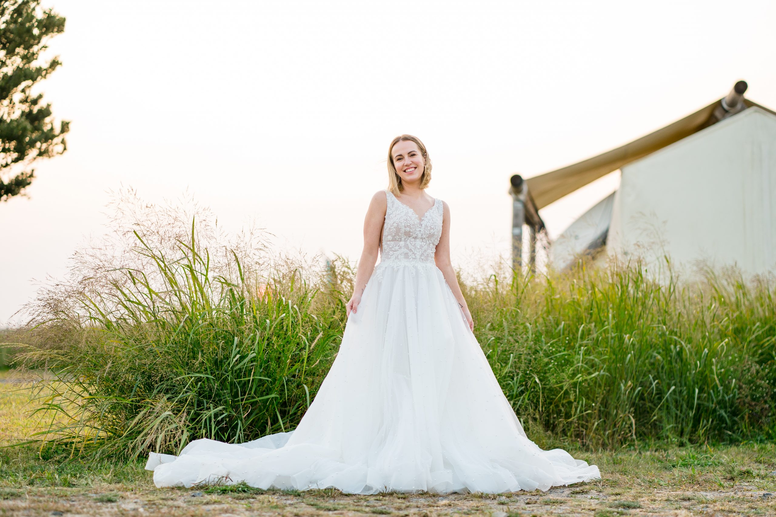 Bride Wearing Pearl Sheer A-line Wedding Dress Called Pierce by Sottero and Midgley