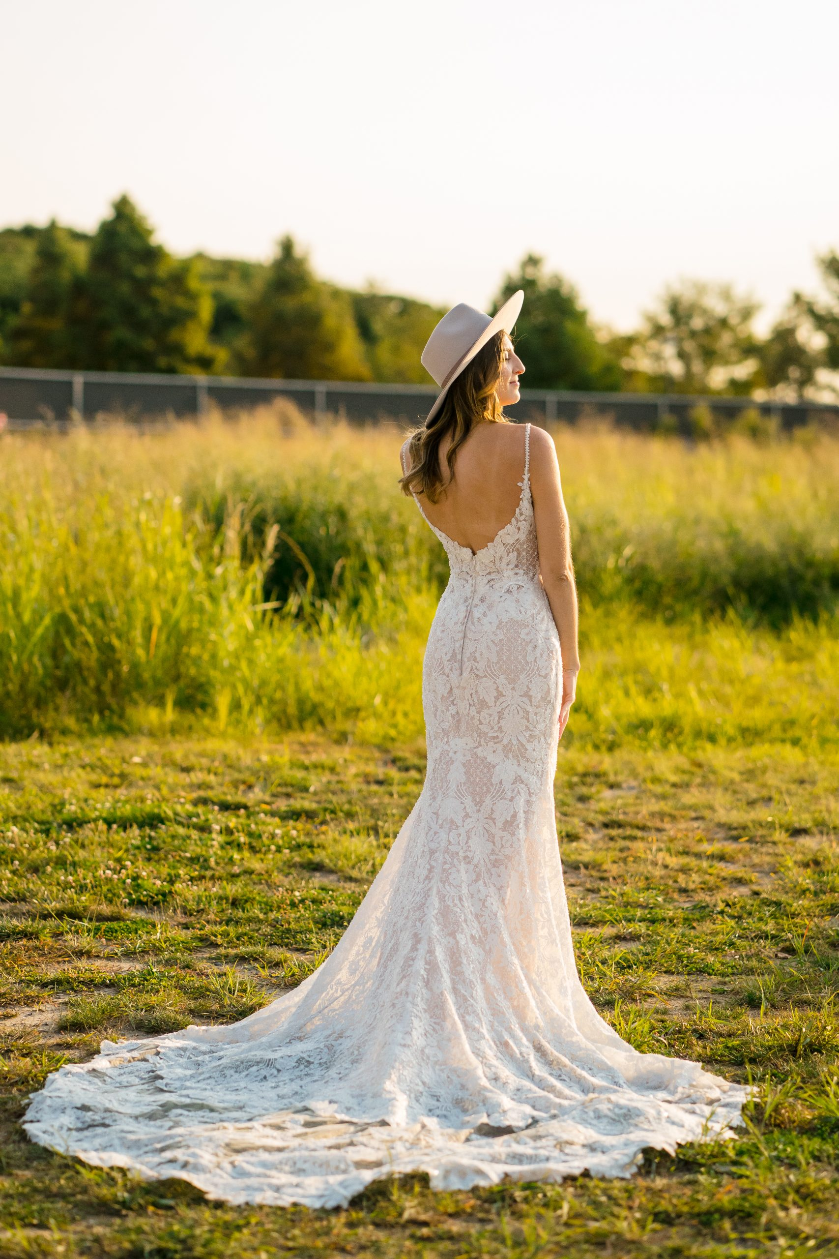Influencer Wearing Sexy Lace Bridal Gown Called Canterbury by Sottero and Midgley