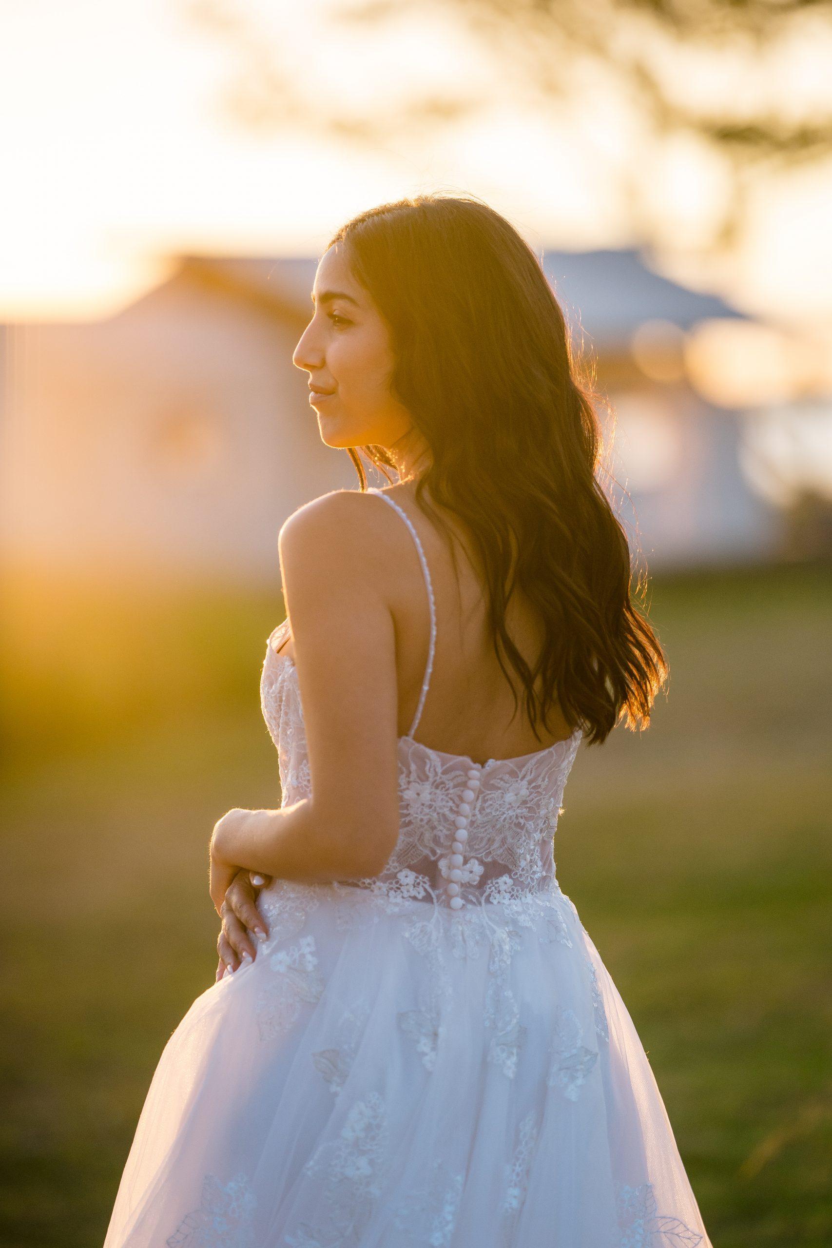 Influencer Wearing Floral Wedding Dress Called Irene by Rebecca Ingram