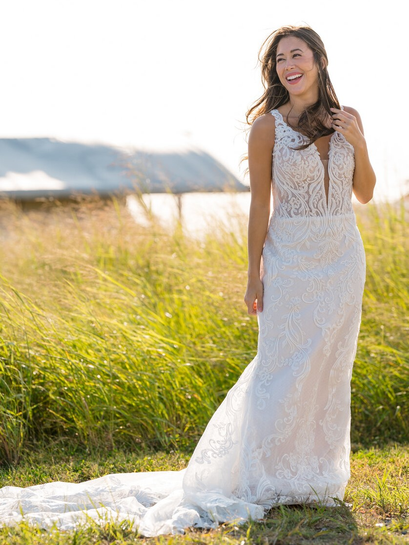 Influencer at Influencer Event Wearing Sheath Wedding Dress Called Hamilton by Sottero and Midgley