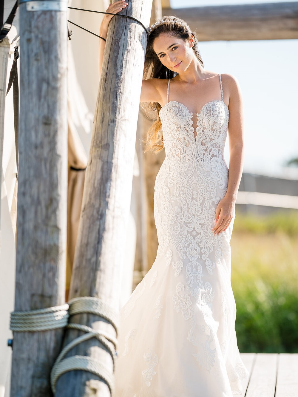 Influencer Wearing Lace Fit-and-Flare Wedding Gown Called Fiona by Maggie Sottero