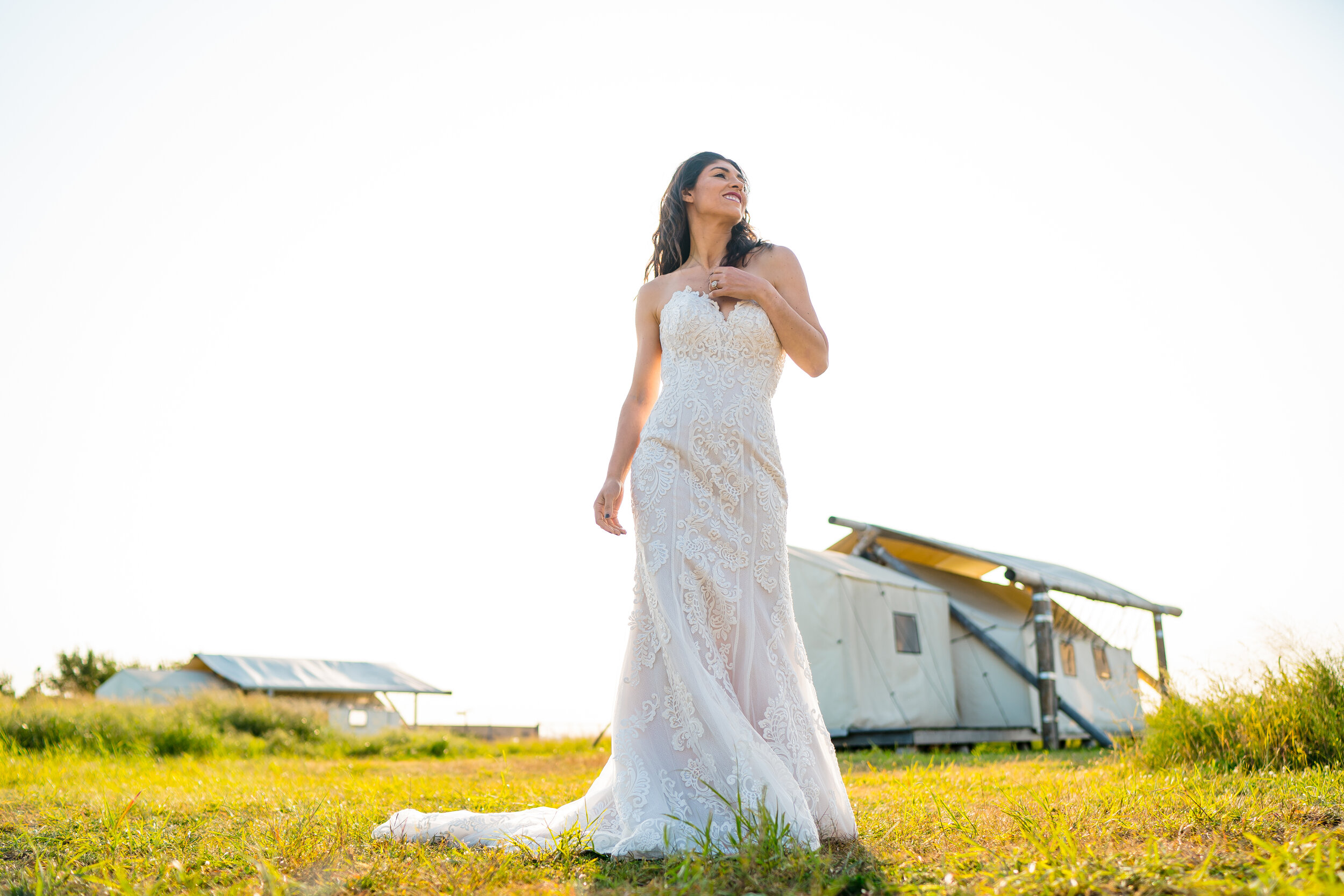 Influencer Wearing Strapless Lace Wedding Dress Called Erin Marie by Maggie Sottero