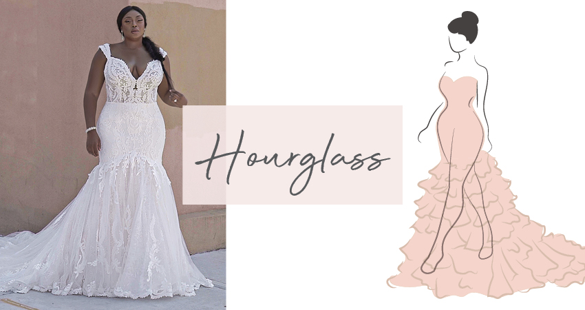 Diagram of Hourglass Body Type and Model Wearing Wedding Dress for an Hourglass Figure