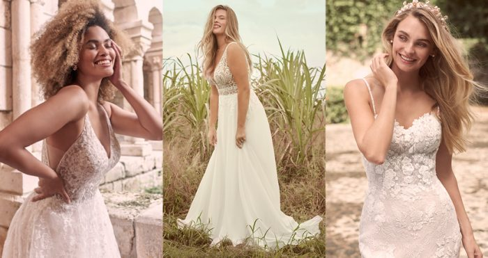 Collage of Models Wearing the Perfect Wedding Dress for Different Body Types