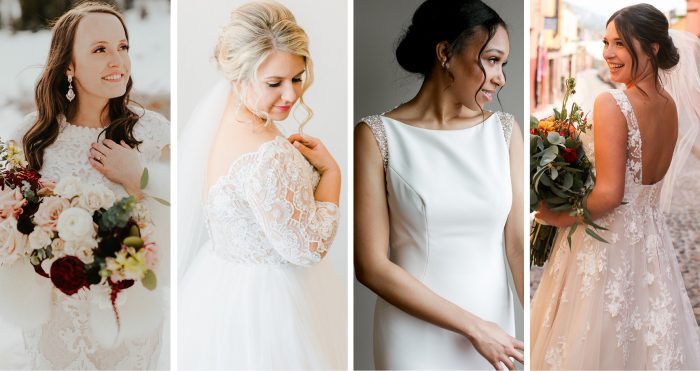 Collage of Real Brides Wearing Maggie Sottero Wedding Dresses