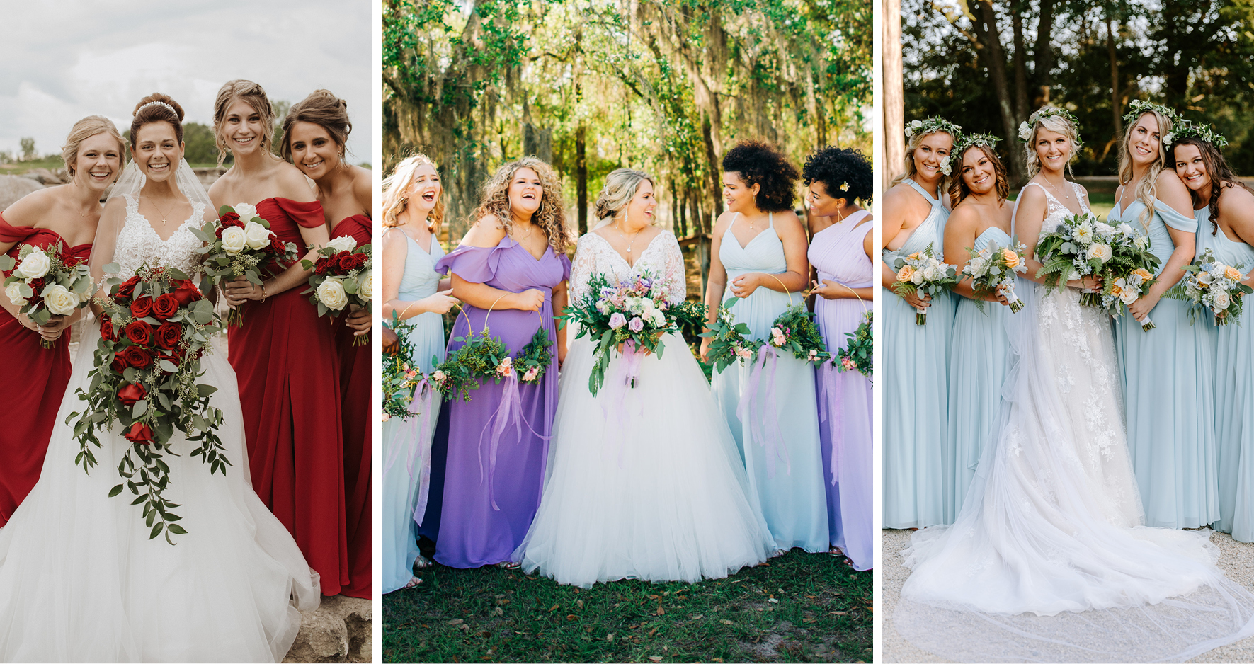 Collage of Real Brides Wearing Maggie Sottero Wedding Dresses and Standing With Their Bridesmaids