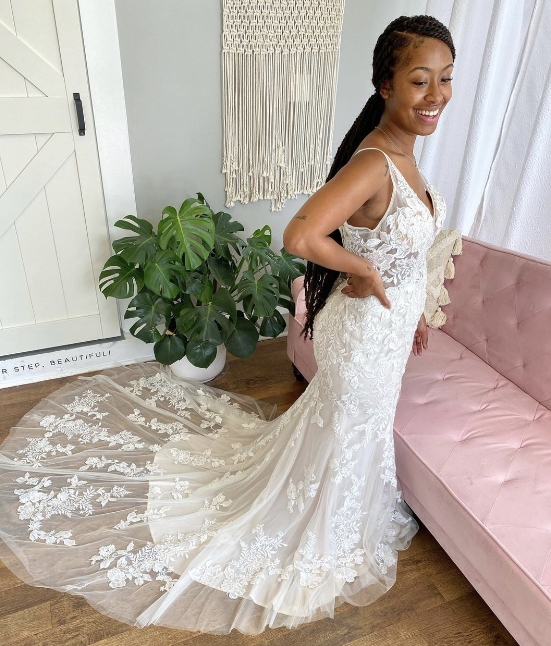 Real Bride trying on Greenley lace Wedding Dress by Maggie Sottero