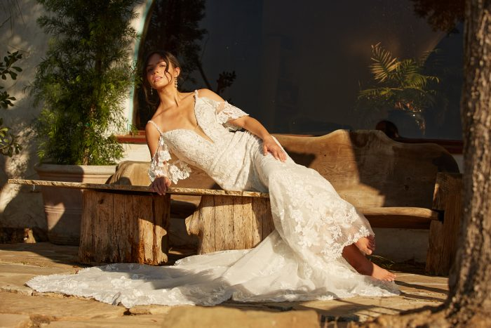 Model wearing Floral Sheath Wedding Gown Bryan by Sottero and Midgley in a Spanish-inspired wedding shoot