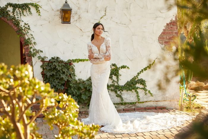 Model wearing Lace Wedding Dress called Hamilton by Sottero and Midgley in a Spanish-inspired Wedding Shoot
