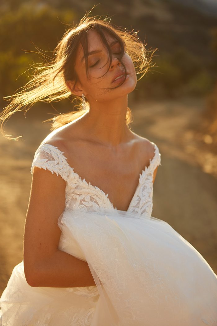 Model Wearing Glamorous Lace Wedding Dress called Joss by Sottero and Midgley in a Spanish-inspired Wedding Shoot
