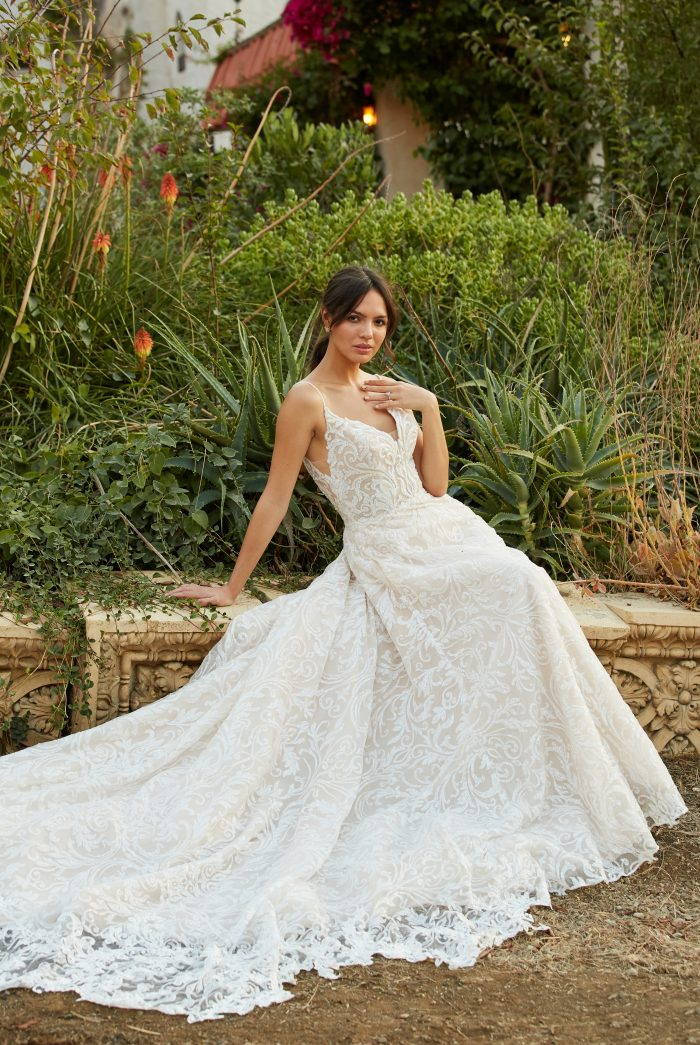 Model wearing Lace A-line Wedding Dress called Presley by Sottero and Midgley in a Spanish-inspired Wedding Shoot