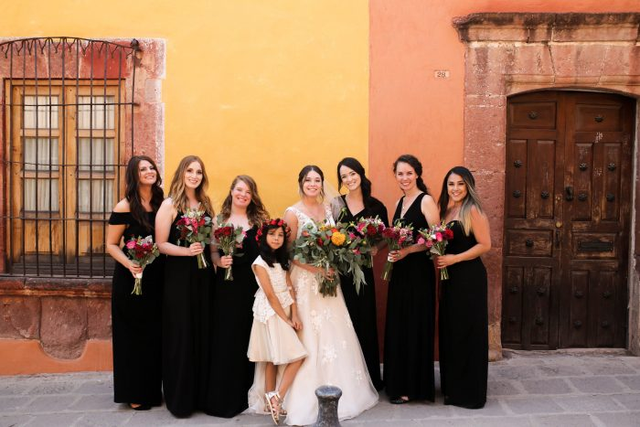 Bride With Bridesmaids Wearing Black Bridesmaid Dress Ideas at Mexican Wedding