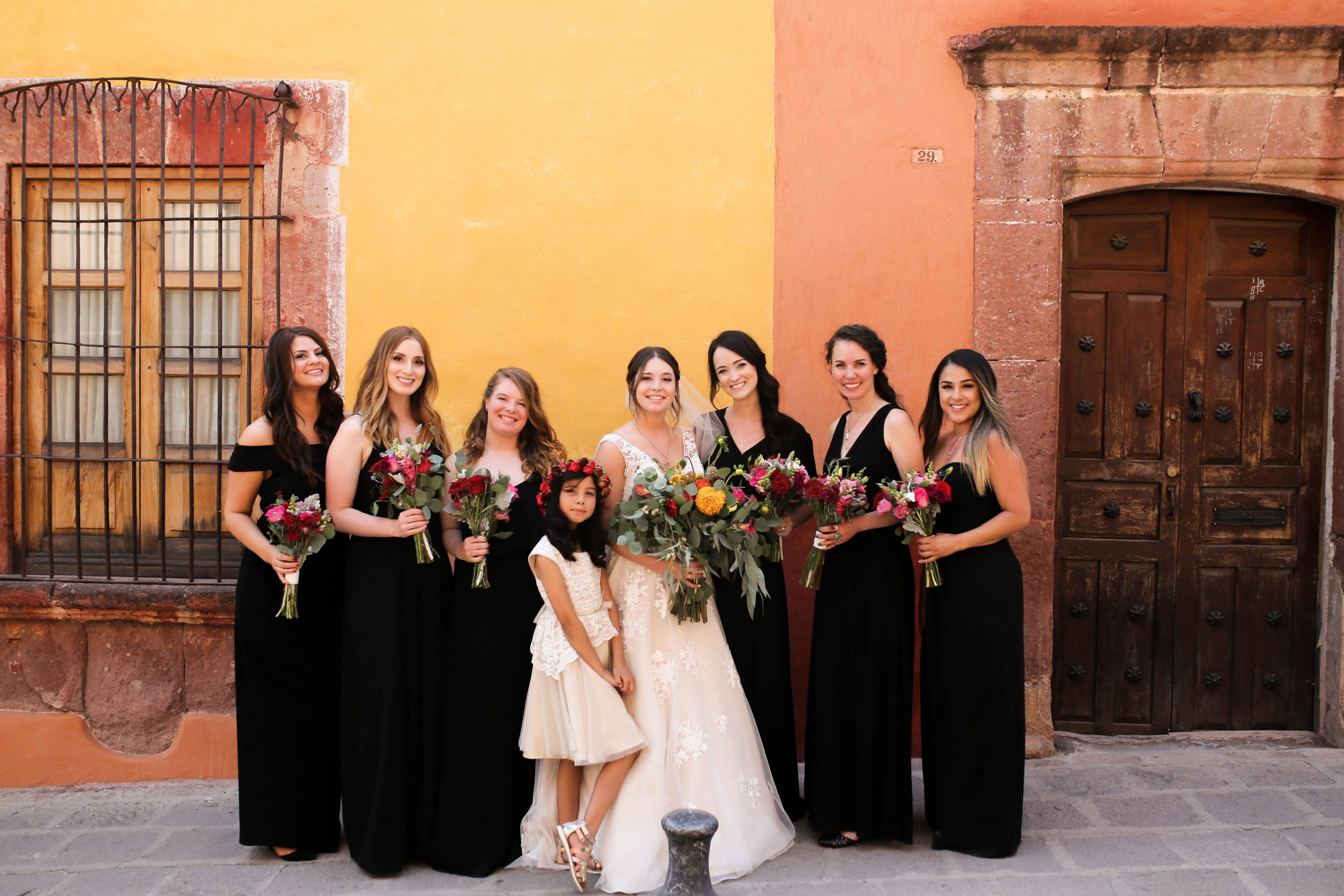 Bride With Bridesmaids Wearing Black Bridesmaid Dress Ideas at Mexican Wedding