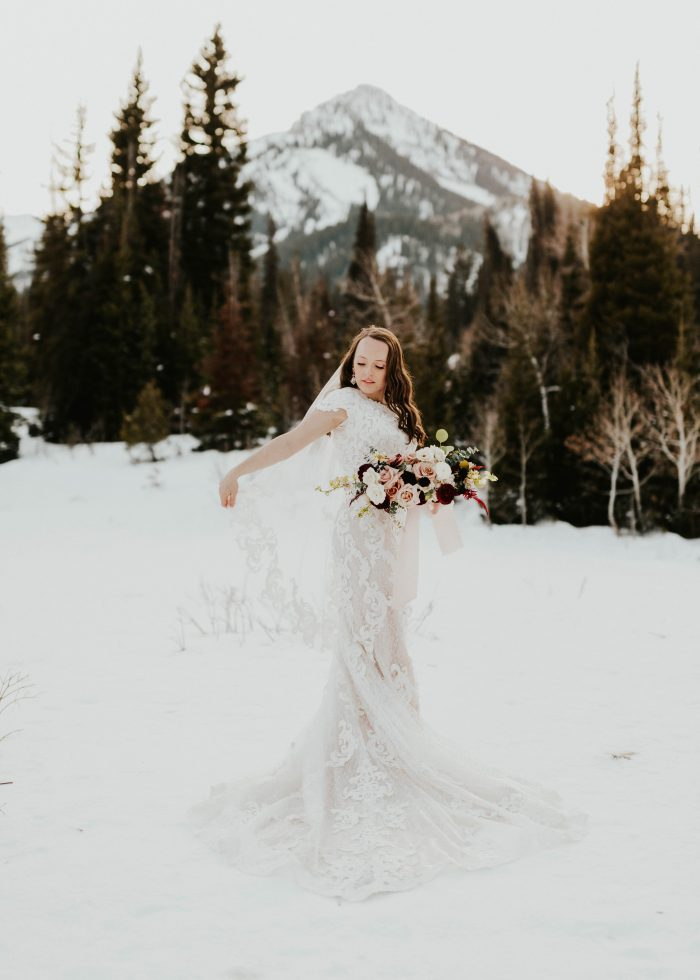 Real Bride Wearing Modest Cap-sleeve Wedding Dress for Winter Wedding Called Tuscany Leigh by Maggie Sottero