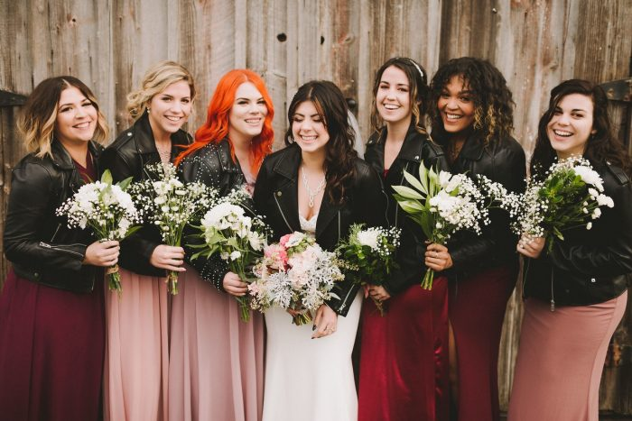 Real Bride with Bridesmaids Wearing Black Leather Jackets at Rocker Wedding