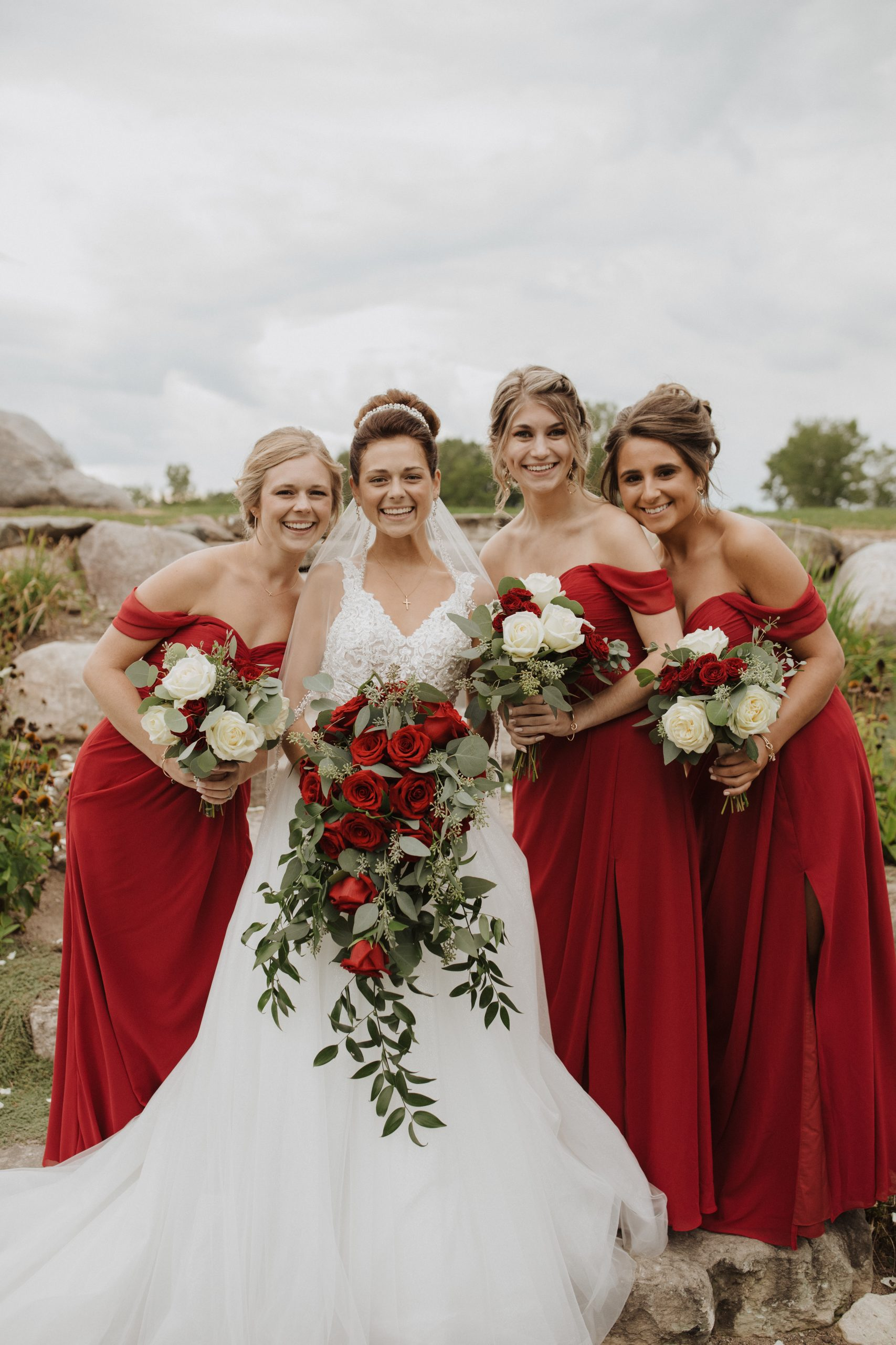 Real Bride with Bridesmaids Wearing Red Dresses