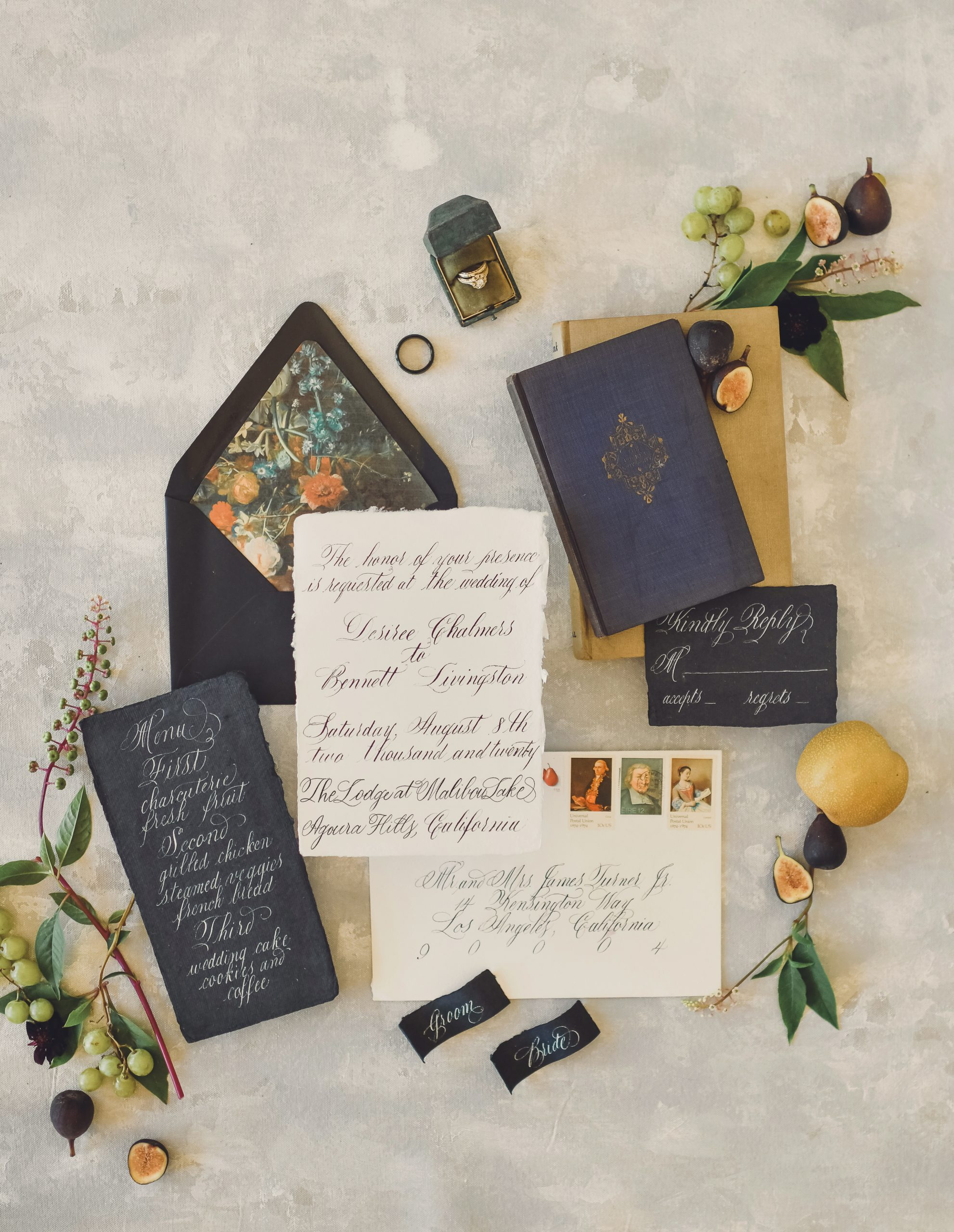 Black and yellow Luxe Spring Wedding invitation inspiration