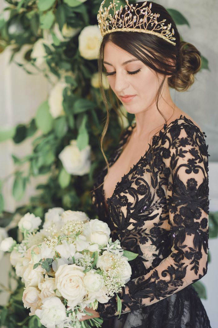 Model wearing Black Lace Wedding Gown called Zander by Sottero and Midgley for a Luxe Spring Wedding