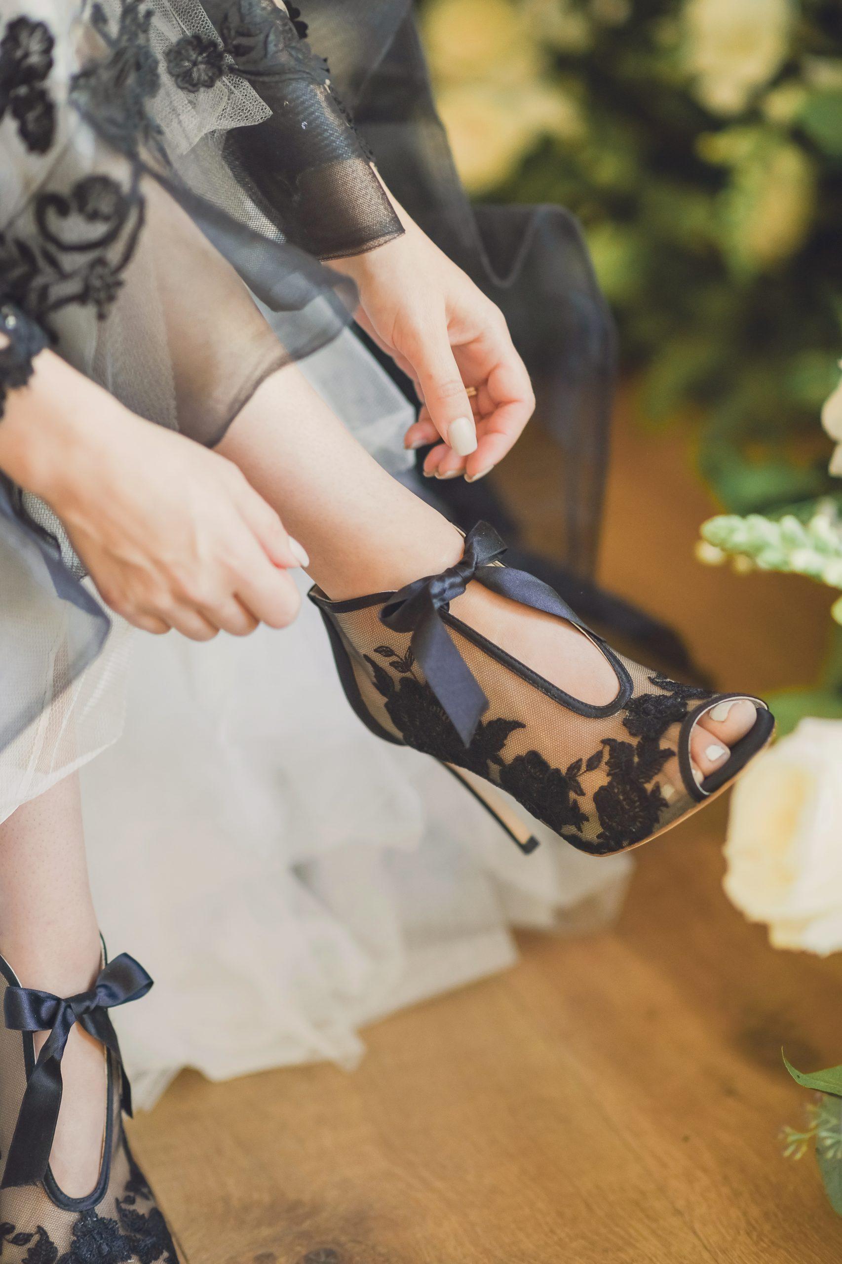 Black Illusion Lace Lace-up Bridal shoes