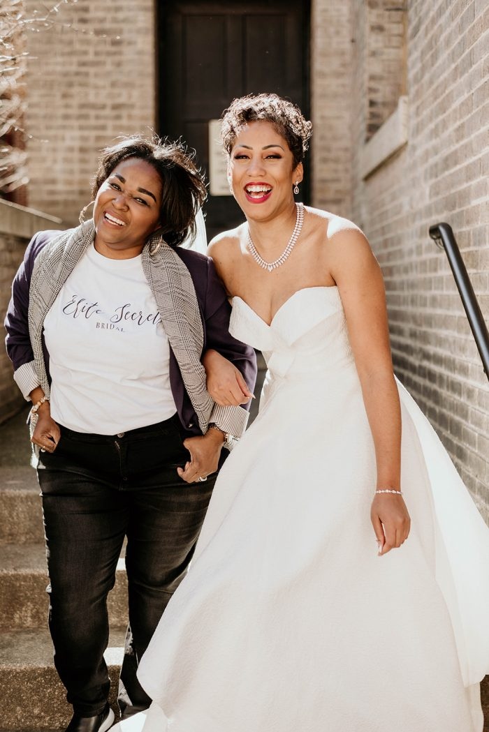 Katie Harris, Marketing Manager of Elite Secrets Bridal and a Bride wearing a Maggie Sottero Wedding Dress