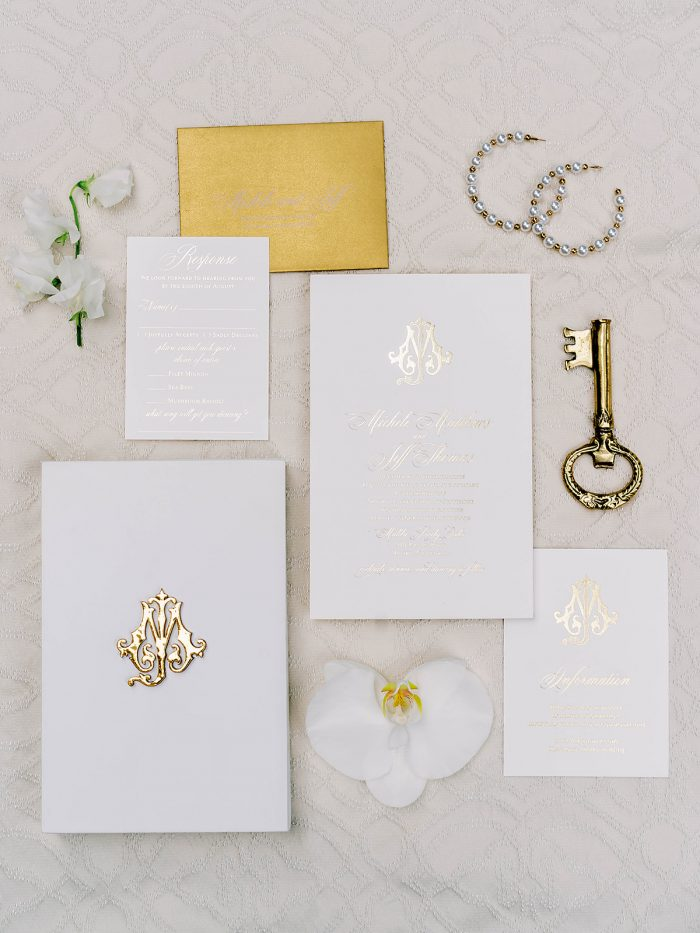 White and Gold Royal Inspired Wedding invitations