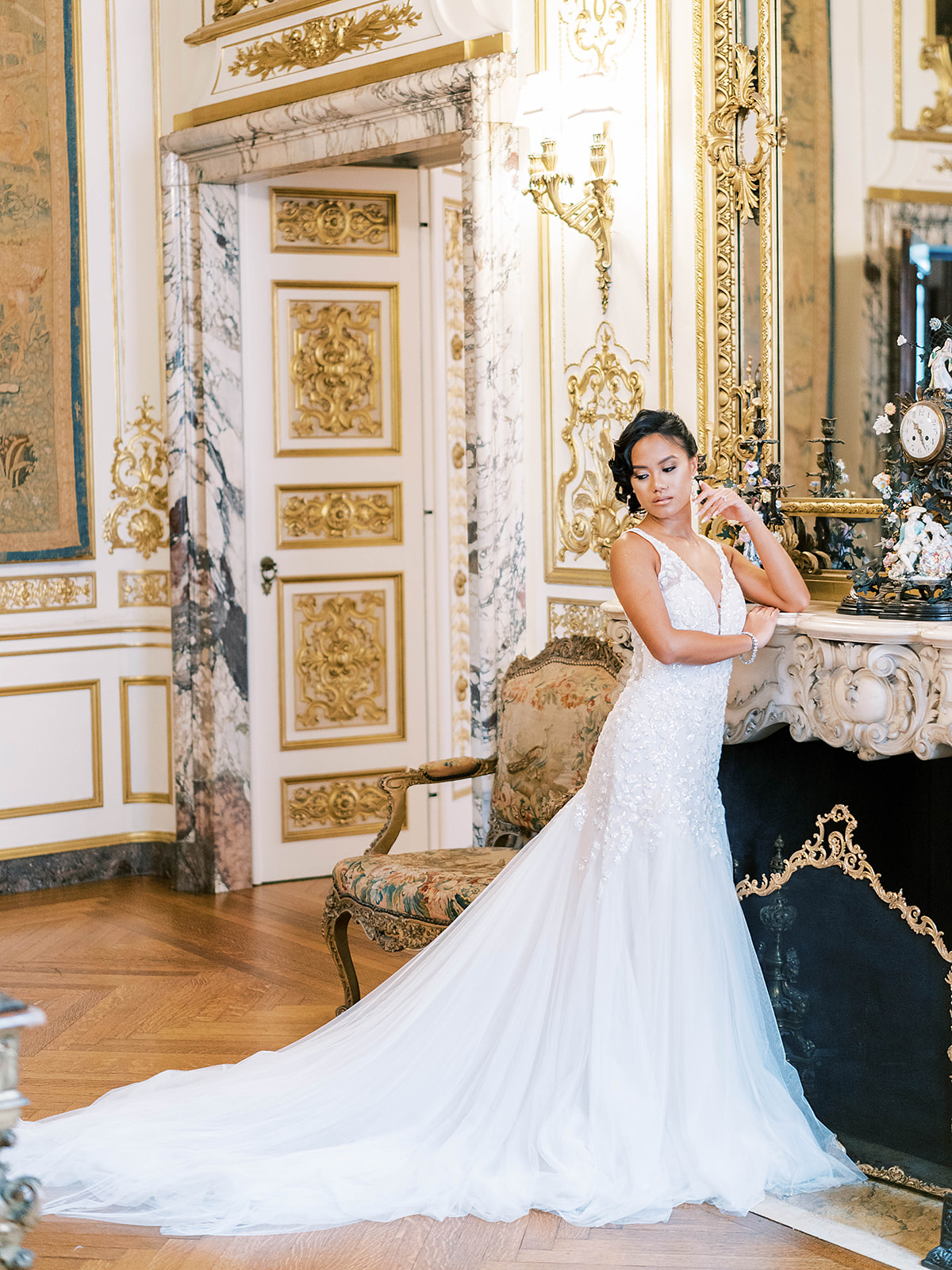 Model wearing A Grecian-Inspired Wedding Dress That Shines: Geneva by Maggie Sottero in a royal inspired shoot