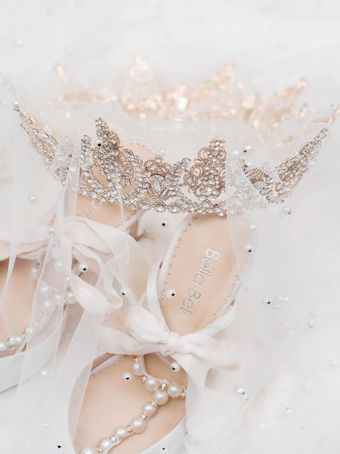 Rose gold crown and white and pearl wedding high heels for a royal inspired wedding