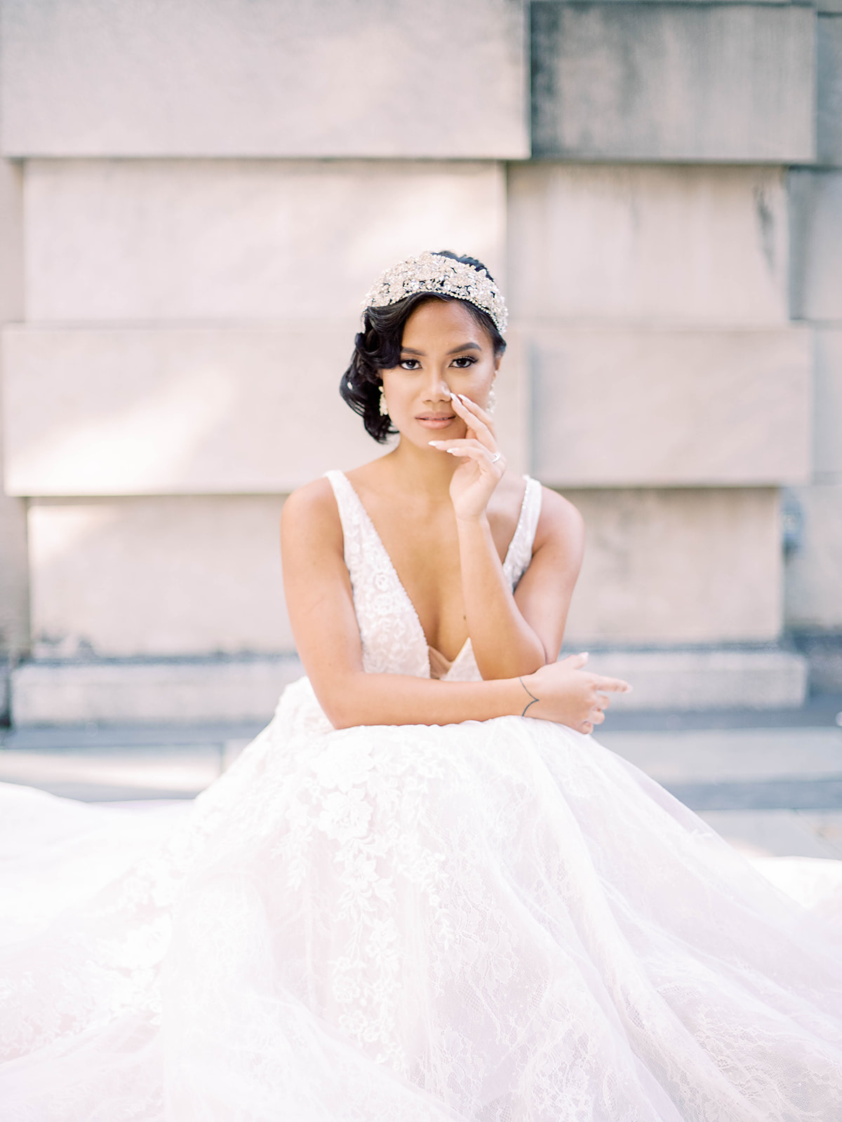 model wearing A Dramatic Romantic Wedding Gown with Shimmer and Texture: Grant by Sottero and Midgley in a royal styled shoot