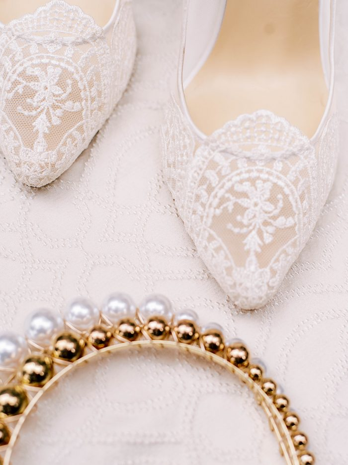 white lace high heel wedding shoes and Pearl and Gold headband for a royal inspired wedding