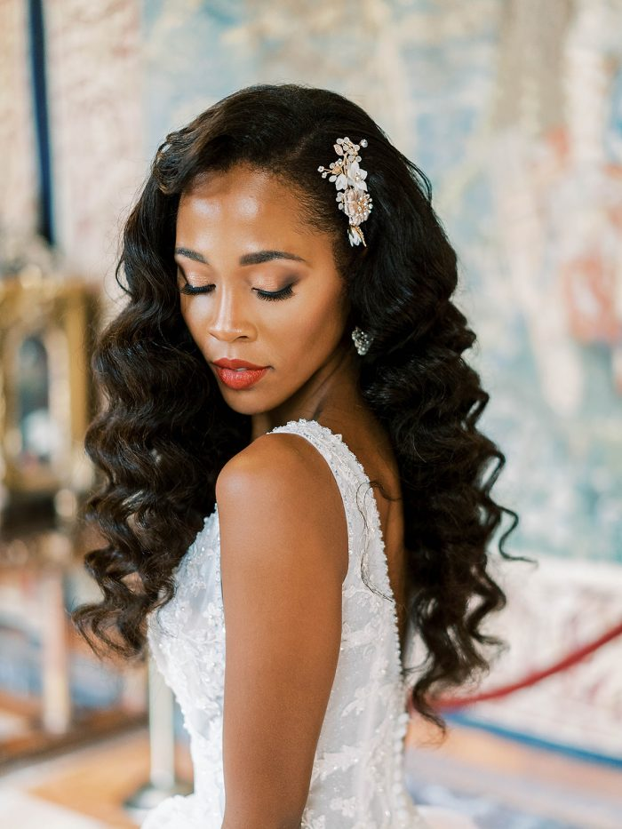 Model wearing Elevated Gown with Precious Pearl Details: Pierce by Sottero and Midgley in a royal inspired shoot