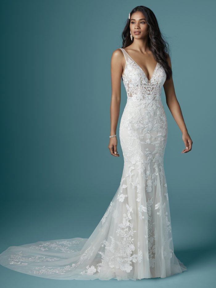Model wearing Fit-And-Flare with Nature-Inspired Lace Wedding Gown Greenley by Maggie Sottero