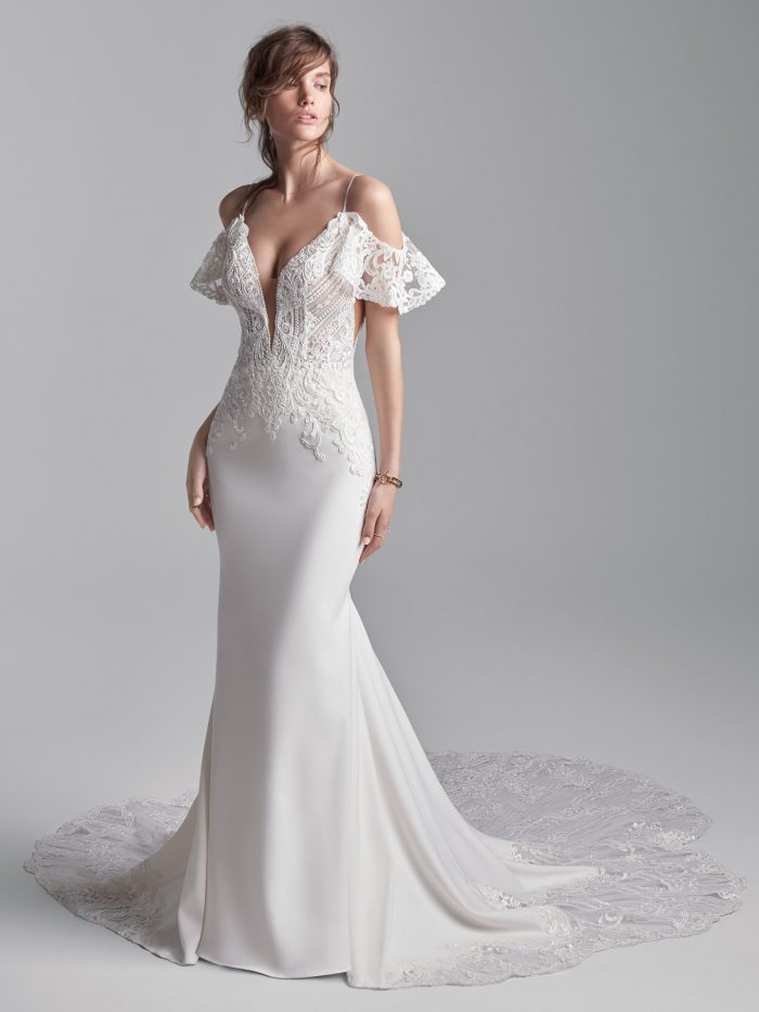 Model wearing Crepe Cold Shoulder Wedding Gown Bracken by Sottero and Midgley in a Studio