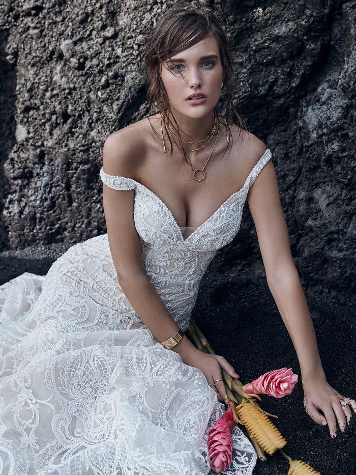 Model wearing Vintage-Inspired Beaded Mermaid Wedding Gown Elias by Sottero and Midgley
