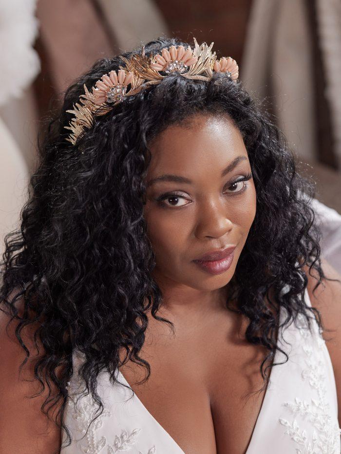 Bride Wearing Seashell Bridal Crown by A'El Este and Maggie Sottero