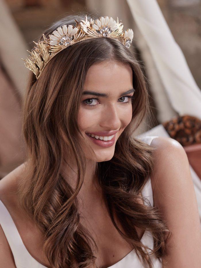 Bride Wearing Art Deco Bridal Crown Called Alanis by A'El Este and Maggie Sottero