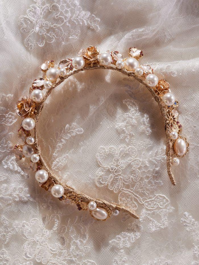 Pearl and Floral Bridal Tiara Called Calaveras by A'El Este x Maggie Sottero
