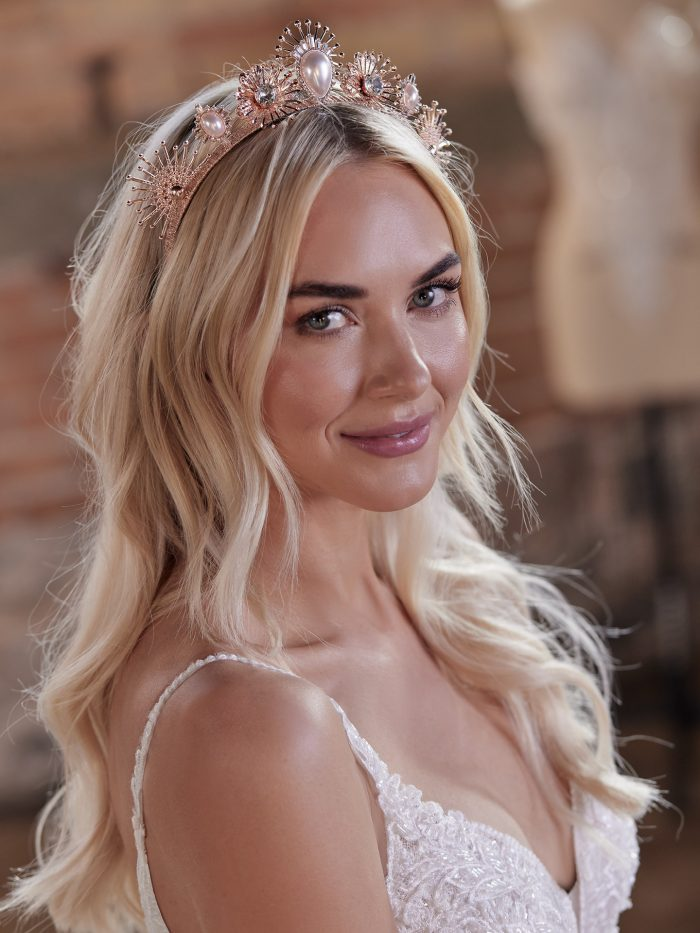 Bride Wearing Celestial-Inspired Bridal Crown Called Deandra by A'L Este and Maggie Sottero