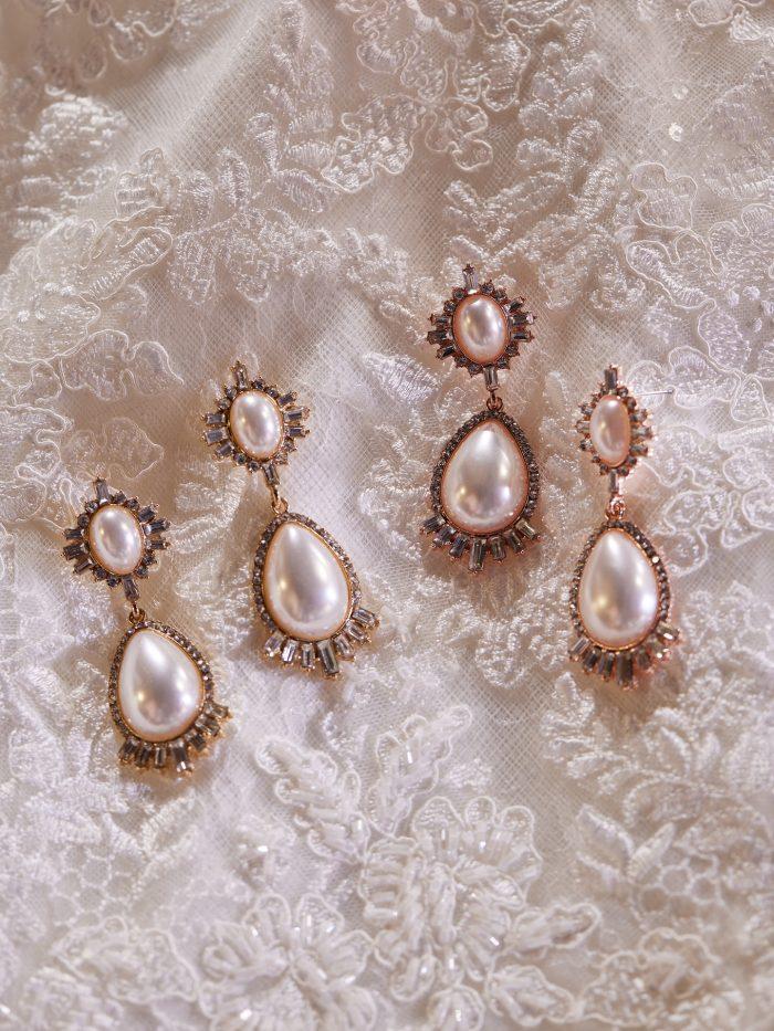 Pearl Teardrop Bridal Earrings Called Deandra by A'El Este and Maggie Sottero