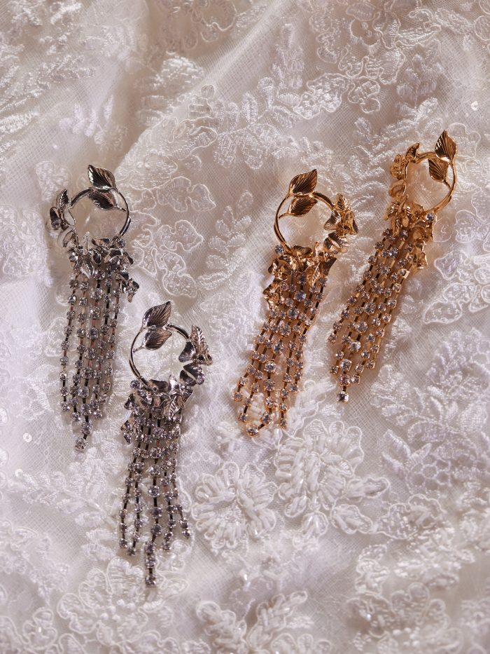 Luxe Chain Drop Wedding Earrings Called Florentina by A'El Este and Maggie Sottero