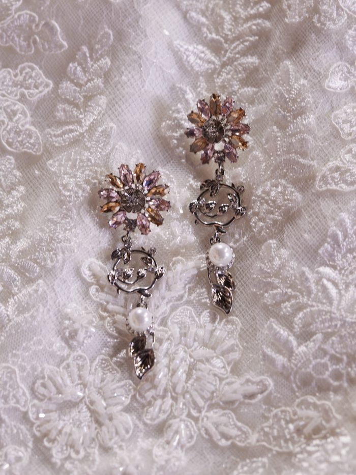 Dangly Floral Bridal Earrings Called Hayden by A'El Este and Maggie Sottero
