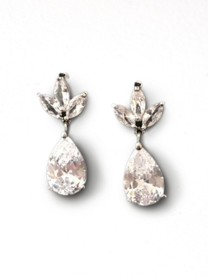 Leafy Teardrop Wedding Earrings Called Recinda by A'El Este and Maggie Sottero