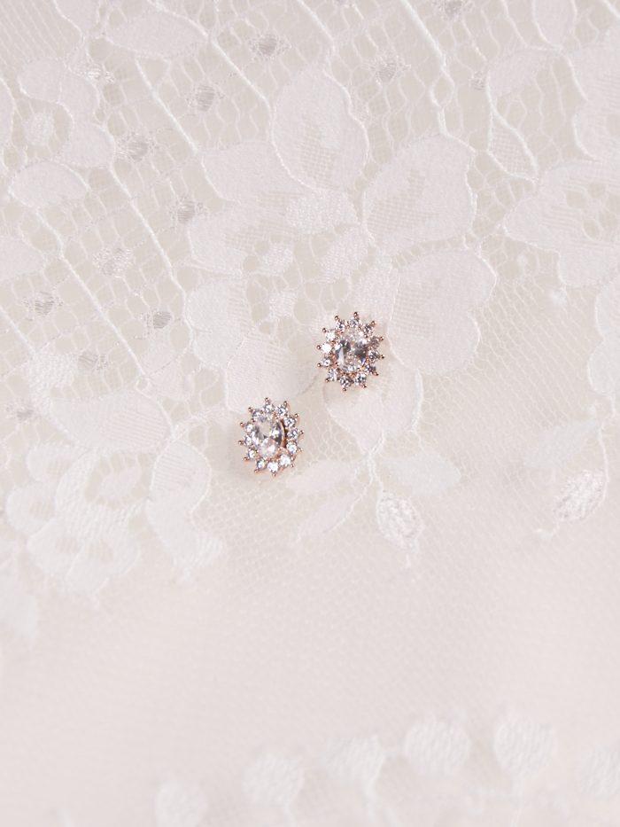 Diamond Stud Wedding Earrings Called Kensington by A'El Este and Maggie Sottero