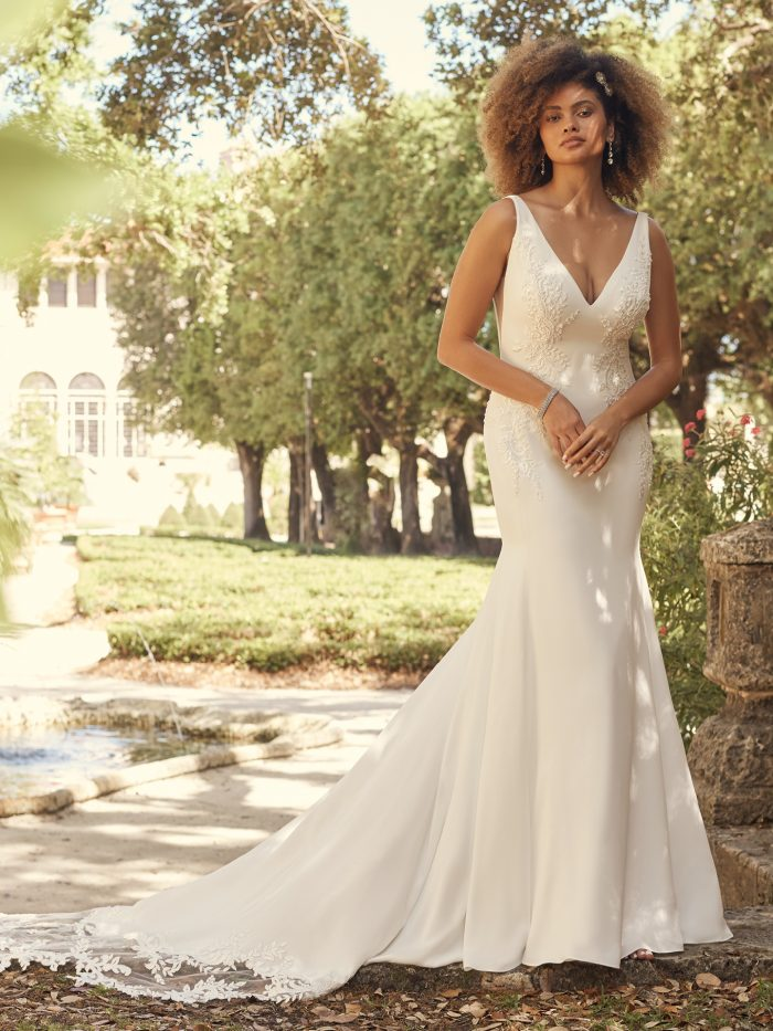 Bride Wearing Simple Crepe Wedding Dress Called Adrianna by Maggie Sottero