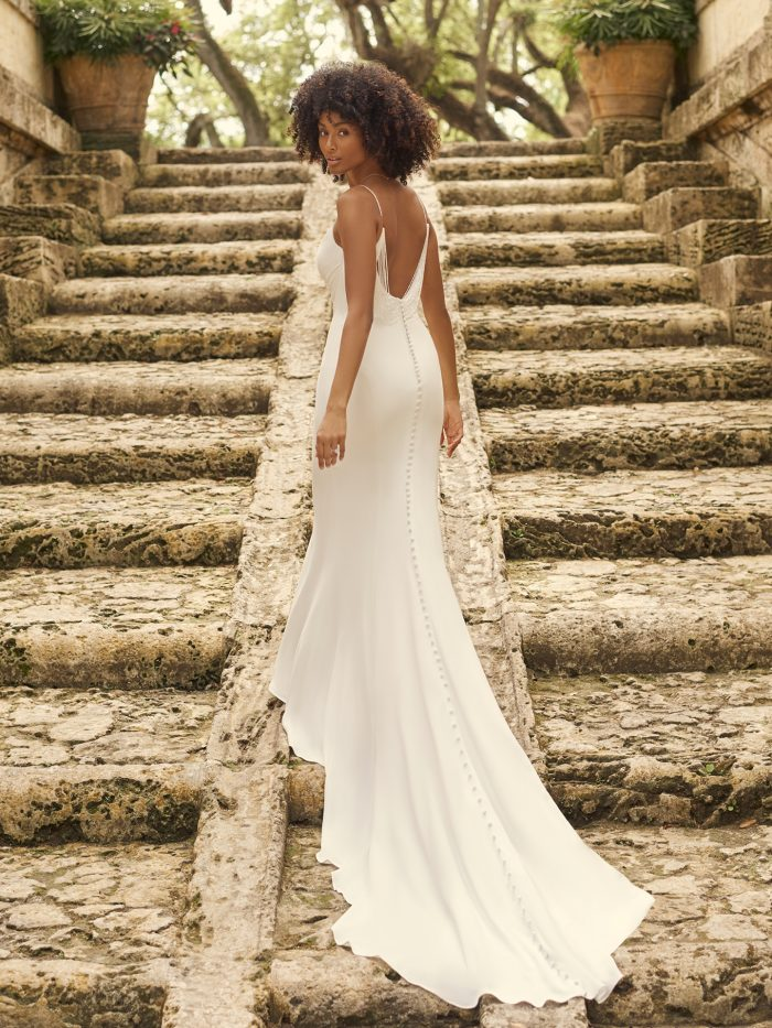 Bride Wearing Minimalist Sheath Wedding Gown Called Alberta by Maggie Sottero