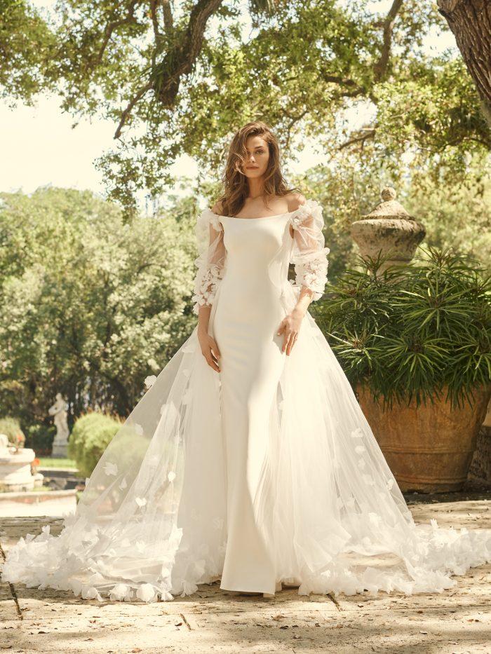 Bride Wearing 3-D Floral Bishop Sleeve Wedding Dress Called Bevan by Maggie Sottero