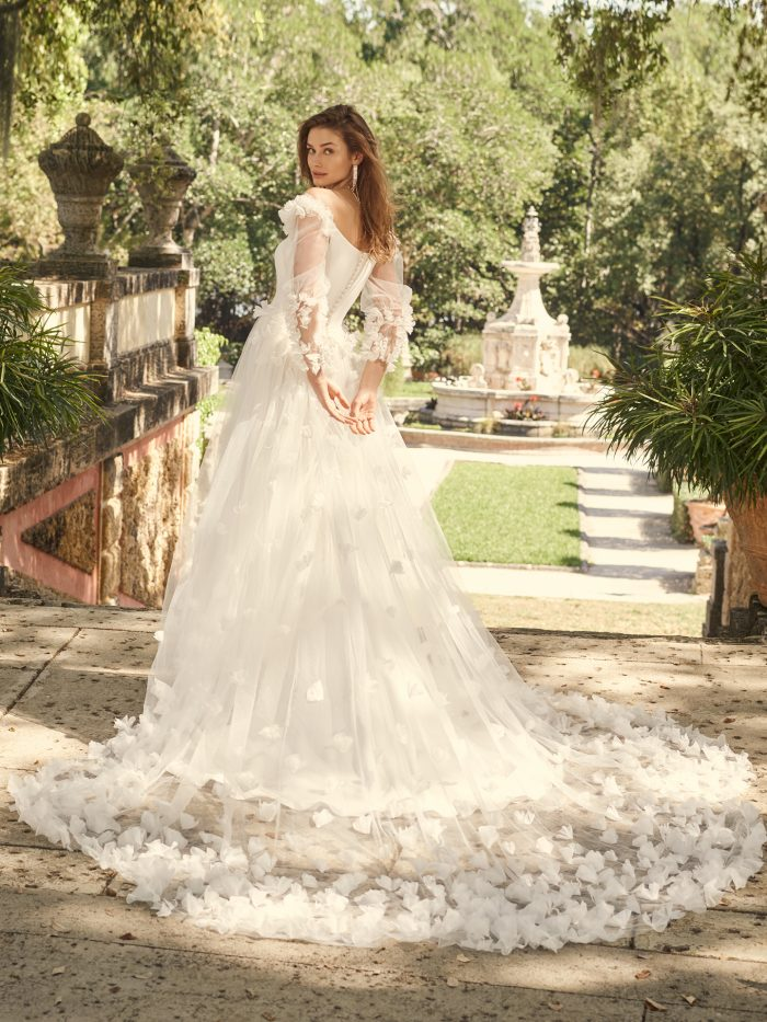 Bride Wearing 3-D Floral Lace Bridal Overskirt Called Eldridge by Maggie Sottero